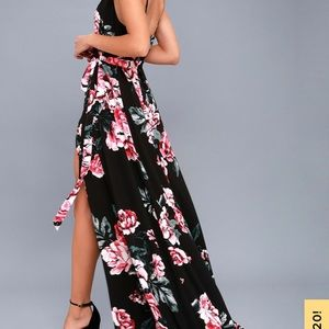 Lulus floral flirtation black wrap maxi dress